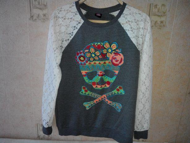 Свитшот оригинальный свитер джемпер кофта кружевной рукав вышивка