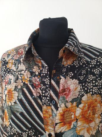 ZARA koszula, bluzkq mgiełka XL kwiatowy print, kołnierzyk