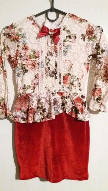 Нарядное платье ажурной верх вилюровая юбка
