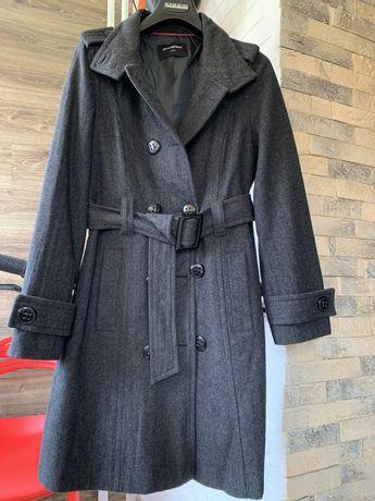 Пальто тренч серое шерстяное