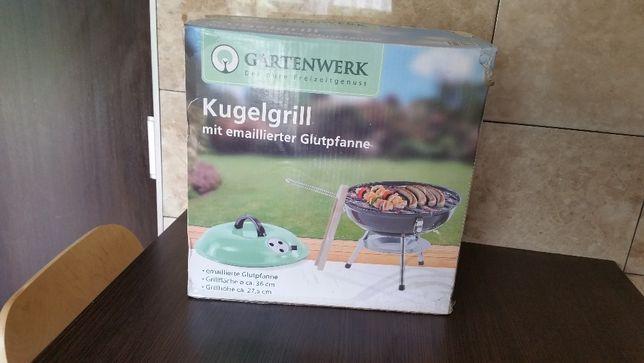 Niemiecki grill turystyczny + węgiel brykiet i rozpałka NOWY