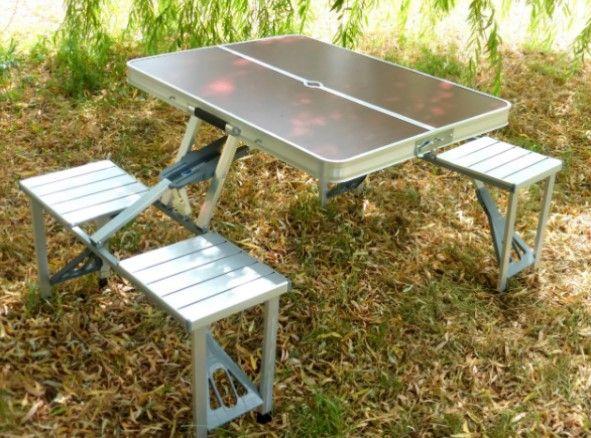 Удобный, алюминевый / стол для сада, усиленный / со 4 стульями расклад