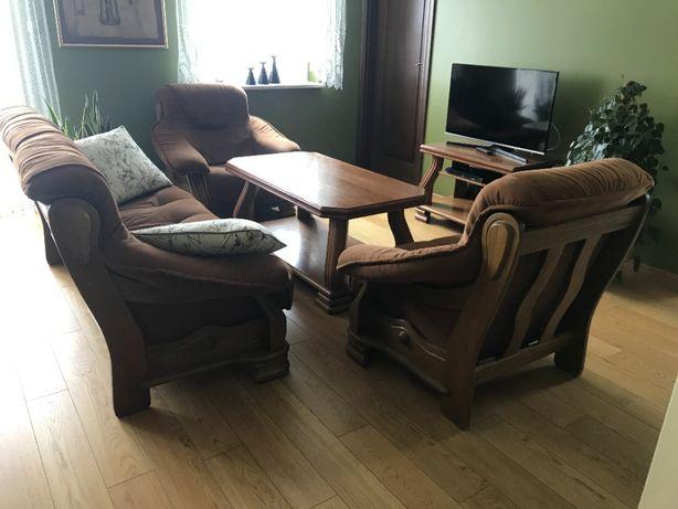 Komplet wypoczynkowy z ławą i stolikiem RTV - masyw dębowy