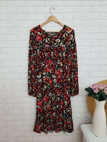 Midi sukienka w kwiaty wiskoza roz 48 4XL Asos nowa
