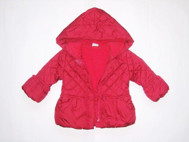 Розовая стеганая курточка, синтепон, флис, Miniclub девочке 1-1,5 лет