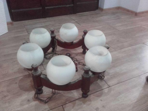 Lampa wisząca drewniana