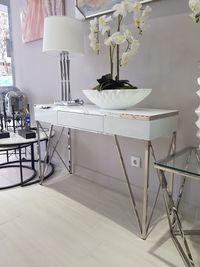 Consola de Vidro Lacado Branco e Inox Espelhado com Gaveta By Arcoazul
