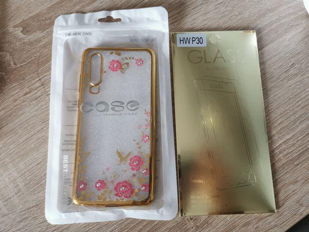 Nowe etui flower Gold cyrkonie szkło Huawei p30