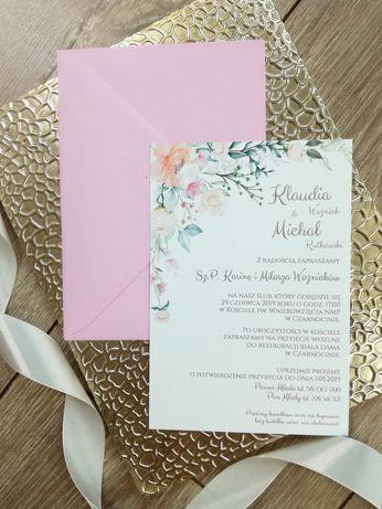 Słodkie zaproszenie ślubne z kwiatkami, promocja