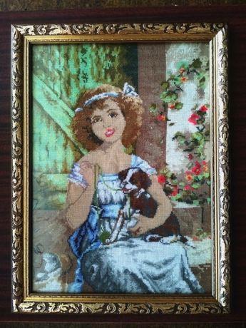 Вышитая картина =Девушка с собачкой= ручная работа.
