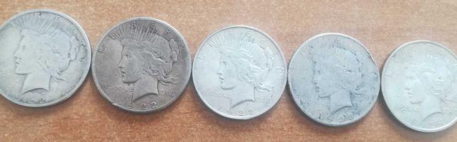 Monety srebrne zestaw 5 sztuk srebro 1 dollar orzeł 1922, 23 24
