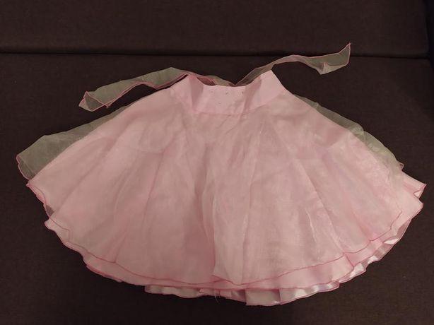Пышная нарядная юбка на девочку розовая с шелковой подкладкой на лето