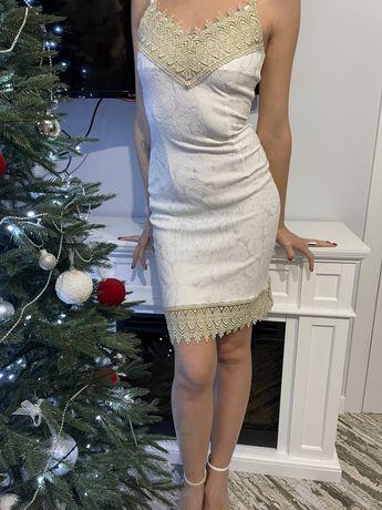 Вечернее свадебное платье сарафан с кружевом белое с утяжкой