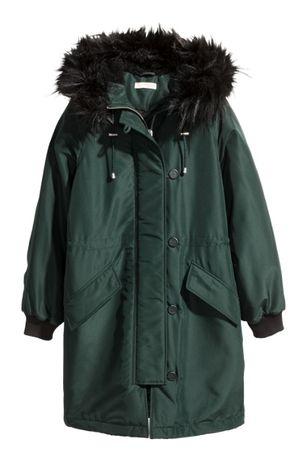H&M PARKA watowana kurtka zielona khaki r S