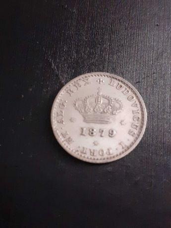 Moeda de prata de 50 reis de 1879