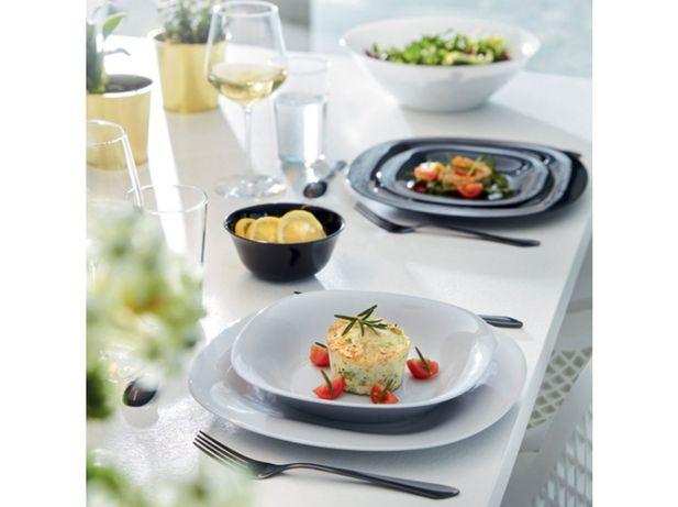NOWY zestaw obiadowy Carine 18-elementowy biało-szary talerz styl IKEA
