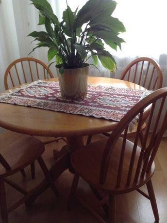 Solidny, piękny stół i 4 krzesła -Ikea / drewniane/