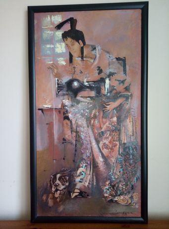 """Картина """"Швея"""", 2002 г, Ольга Смолина, 40х79 см"""