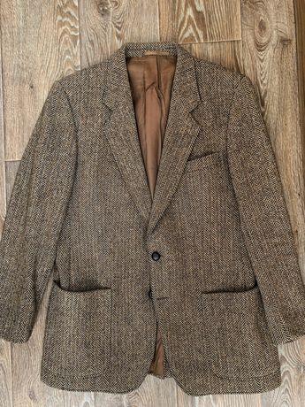 Мужской пиджак блейзер шерсть коричневый Harris Tweed 42 52 M L