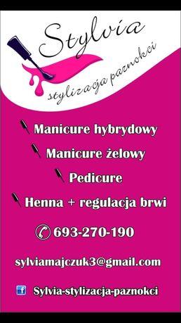 Stylizacja paznokci, paznokcie hybrydowe, żelowe. Pedicure, henna.