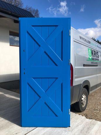 Drzwi zewnętrzne drewniane ocieplane niebieskie