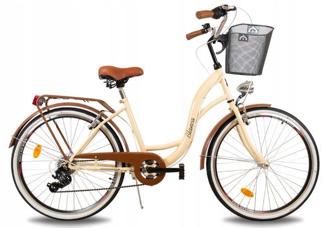 Rower miejski damski 26 DAMKA BLANCA 6SP pistacja biały czarny