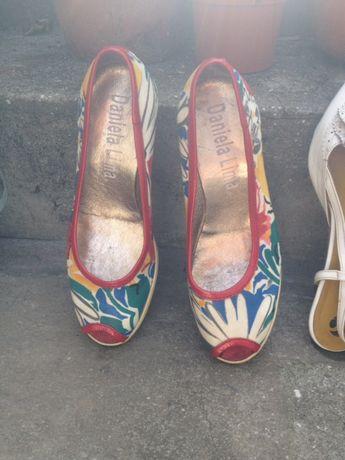 Sandálias de cunha salto alto em pele várias cores 37
