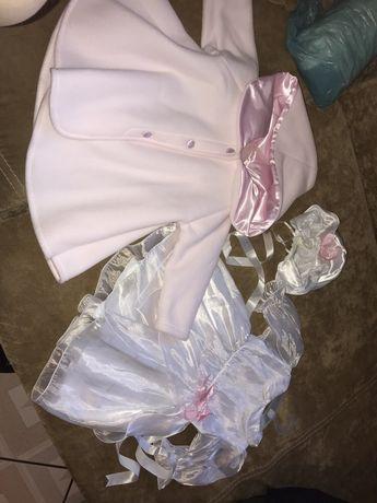 Komplet do chrztu 74 sukienka+ kapelusik+ płaszcz