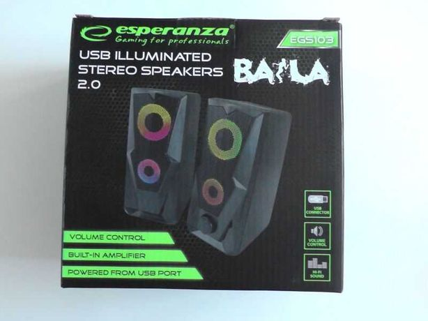 Głośniki Komputerowe USB Podświetlane BAILA