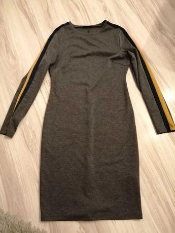 Sinsay szara ołówkowa sukienka bawełna z paskiem M
