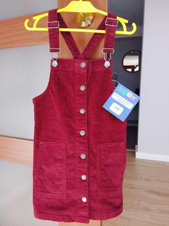 Spódnica ogrodniczka sukienka 110 Lupilu bordowa sztruksowa