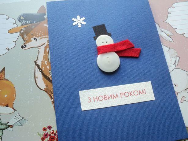 новогодняя открытка Снеговик С новым годом З новим роком Снежинка