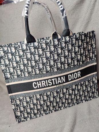 Torebka duża shoperka Dior Torba Szara na ramie płotno Premium