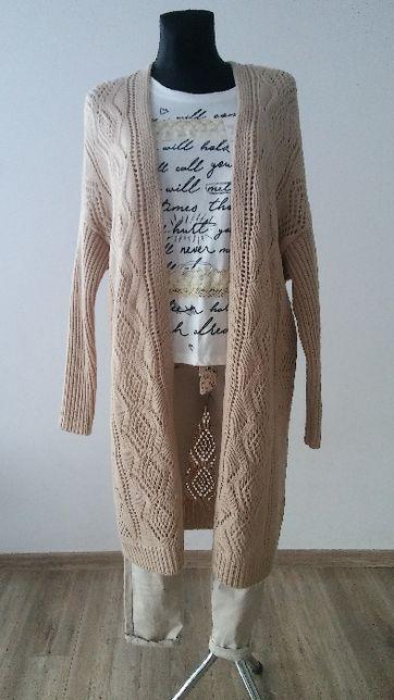 kardigan/sweter beż i szary ażurowy