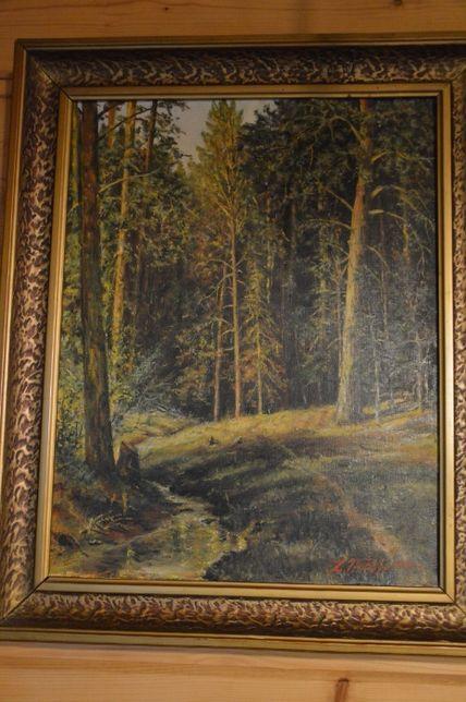 Obraz Las w ozdobnej ramie