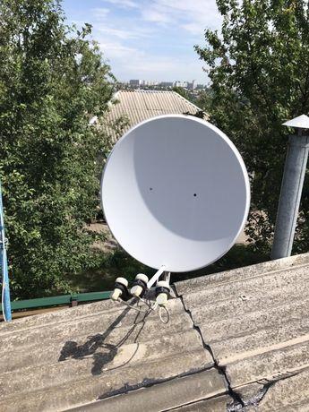 Спутниковая антенна 2шт.+крепеж+ресивер
