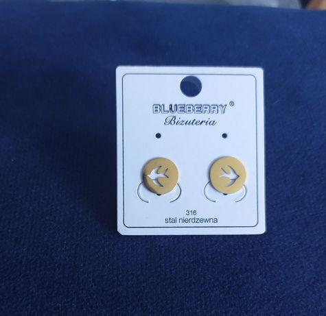 Kolczyki jaskółki blueberry wkrętki