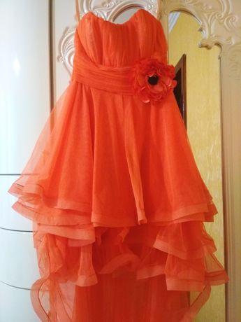 Платье (коралловый цвет) вечернее / выпускное со шлейфом /коктельное