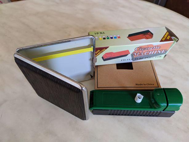 Машинка для набивки сигаретных гильз табаком +портсигар