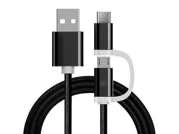 Cabo de Carregamento Reekin 2 em 1 Micro-Tipo USB-C 1m Novos