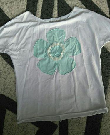 Nowa Bluzka uniwersalna biała krótki rękaw
