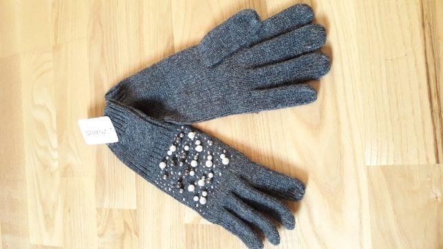 Rękawiczki zimowe, szare z koralikami, eleganckie, ciepłe, prezent