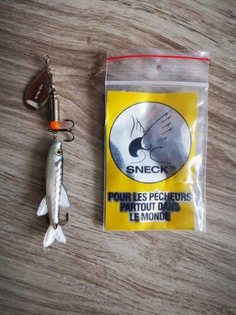 Obrotówka z gumą rybką Sneck 12g Srebrna błystka