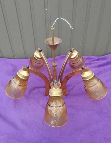 Lampa sufitowa wisząca z drewna PRL retro vintage