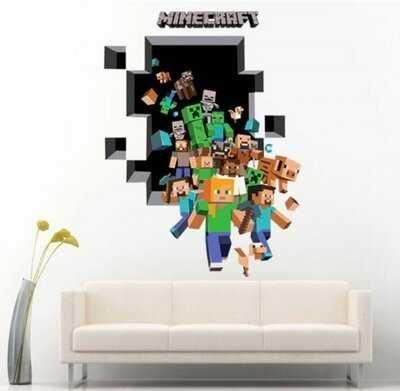 Виниловая наклейка на стену,мебель Minecraft.Ребёнок будет в восторге