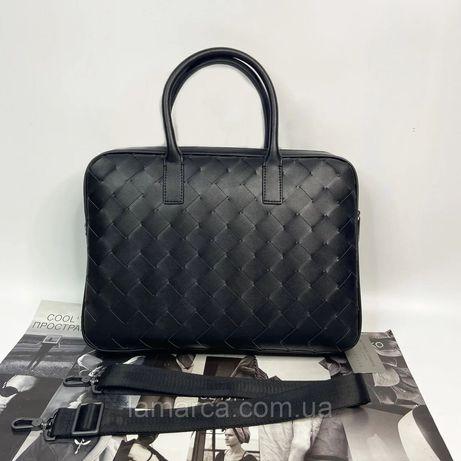Мужской деловой портфель Bottega Veneta чёрный чоловічий чорний