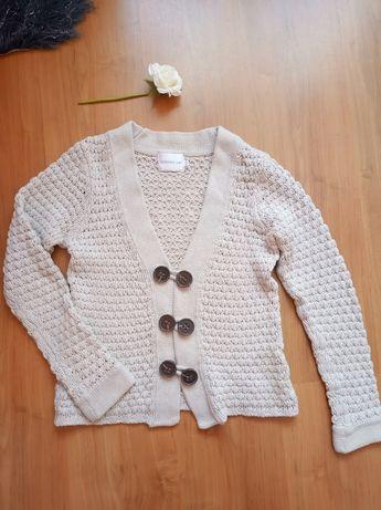 Beżowy sweter kardigan zapinany S 36