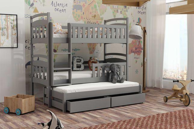 Nowe drewniane łóżko dla 3 dzieci - trzyosobowe! Wysuwane spanie
