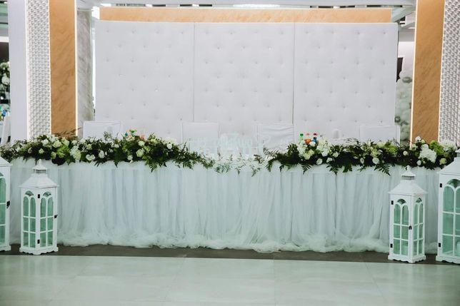Pikowana ścianka na wesele fotościanka tło weselne biała podśw Led