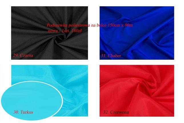 Wielka Wyprzedaż - podszewka poliestrowa na belce 150cm x 90m 4 kolory